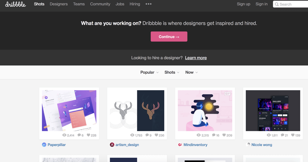 image of dribbble site in April to get new client