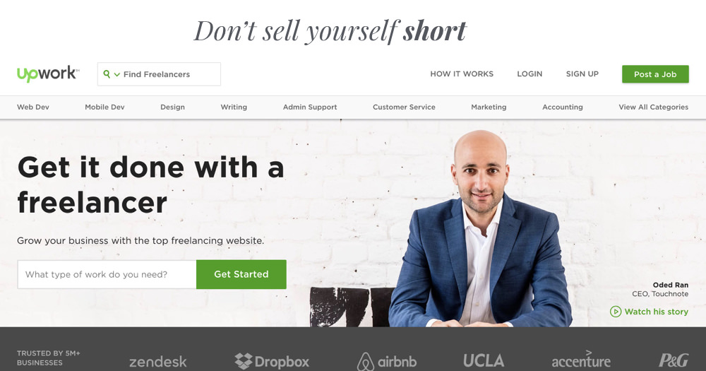 never sell yourself short fiverr and upwork